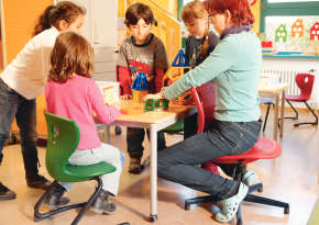 Air-cushion swivel chair for kindergarten teachers.